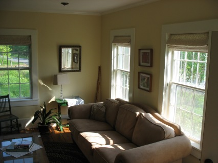 Our sunny living room with flat screen tv.